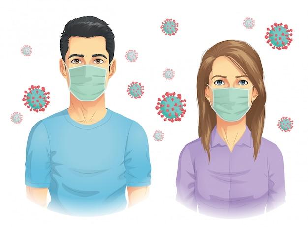 Mann und frau tragen maske bei coronavirus-ausbruch Premium Vektoren