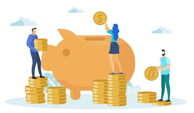 Mann- und frauencharaktere, die geld sparen Premium Vektoren