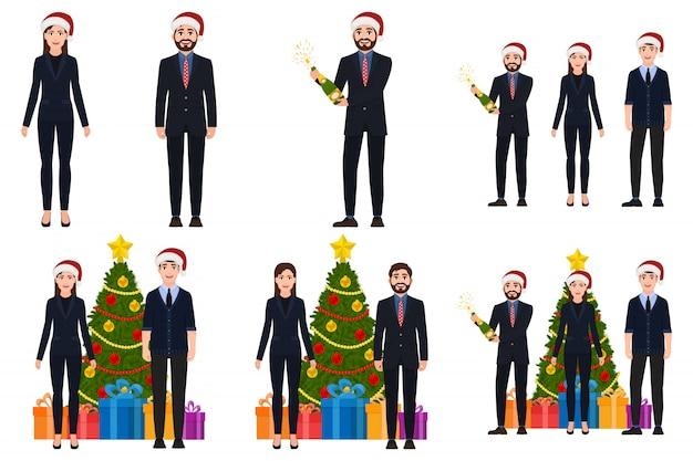 Mann- und frauencharaktere im weihnachtssatz Premium Vektoren