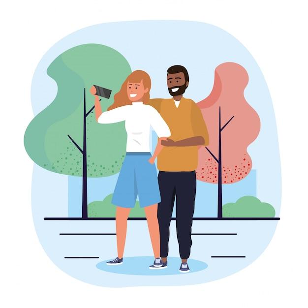 Mann- und frauenpaare mit selfie technologie Premium Vektoren
