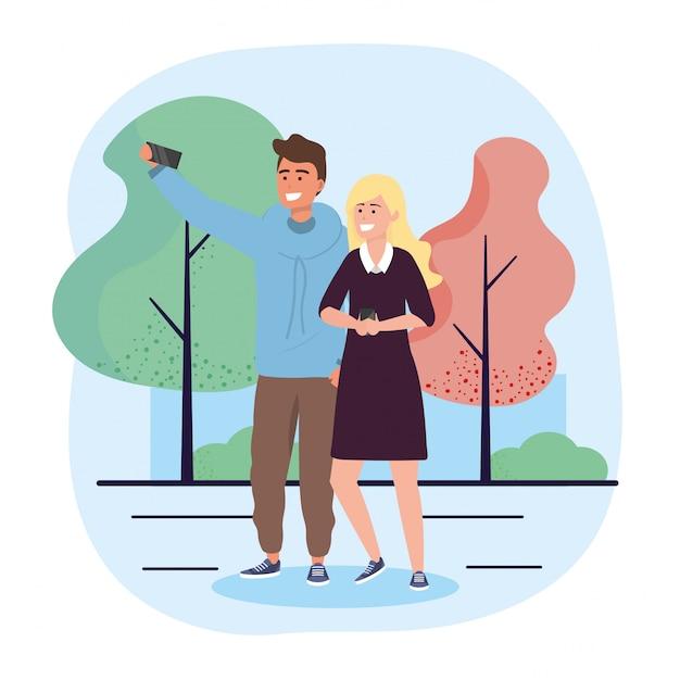Mann- und frauenpaare mit smartphonekommunikation Premium Vektoren