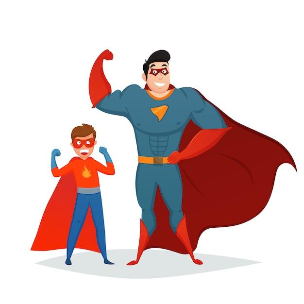 Mann und junge superhelden retro zusammensetzung Premium Vektoren