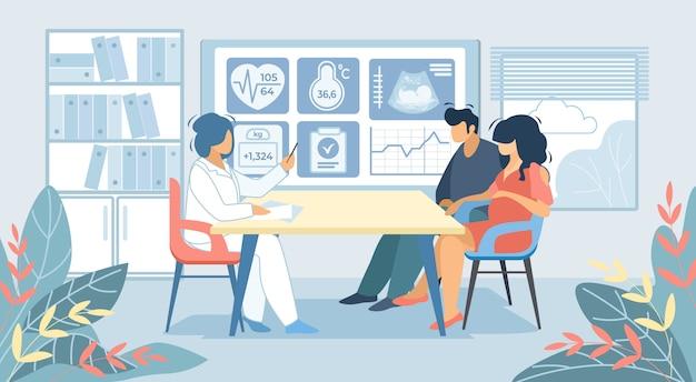 Mann und schwangere frau, die an doktor cabinet sitzen Premium Vektoren