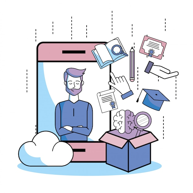 Mann videoanruf im bildungs-smartphone Premium Vektoren
