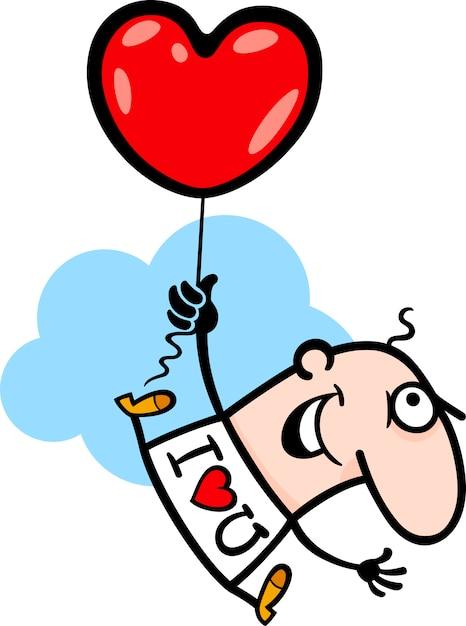 Mann Witz Valentine Herd Ballon Cartoon   Download der Premium Vektor