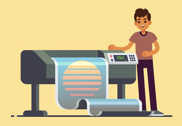 Mannarbeitskraft an der plotterdruckillustration Premium Vektoren