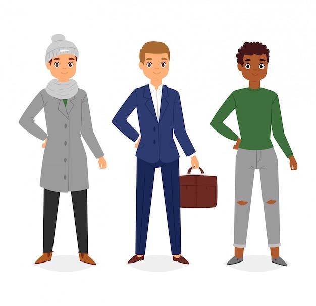 Mannblickmode-charakter-kleidungsvektor-jungenkarikatur kleiden oben kleidung mit modehosen oder -schuhen an Premium Vektoren