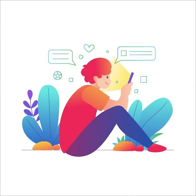 Manngebrauch smartphone, ein mann, der unter verwendung eines handys sitzt Premium Vektoren