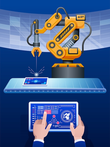 Mannhand, die tablette und gelben ton des automatisierten drahtlosen roboterarms im intelligenten fabrikhintergrund hält Premium Vektoren