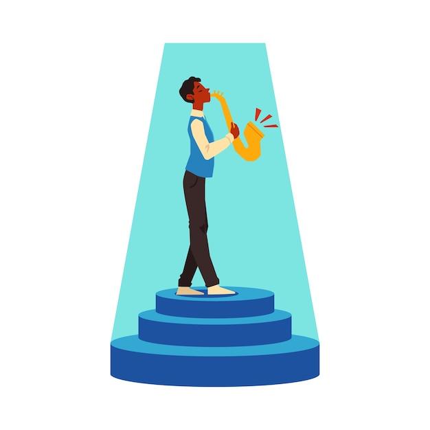Mannkarikaturfigur, die saxophon spielt, illustration auf weißem hintergrund. talent show teilnehmer oder musikalischer performancekünstler. Premium Vektoren