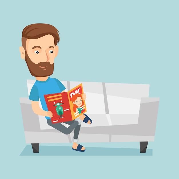 Mannlesezeitschrift auf sofavektorillustration Premium Vektoren