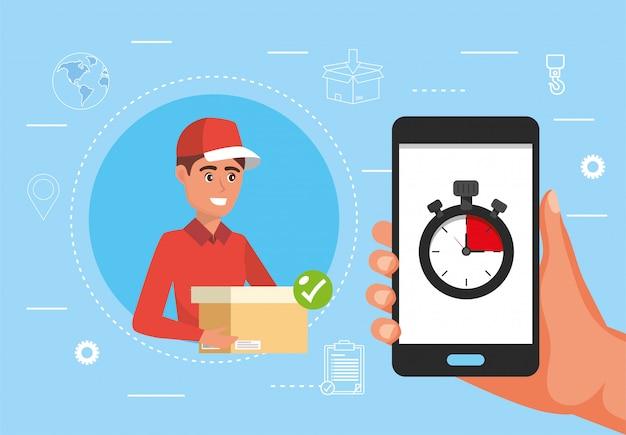 Mannlieferung mit paket und hand mit smartphone und chronometer Premium Vektoren