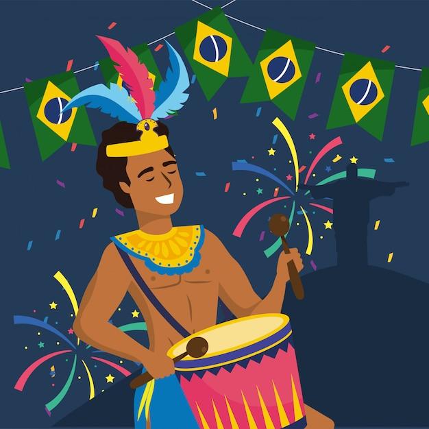 Mannmusiker mit trommel und party brasilien Premium Vektoren