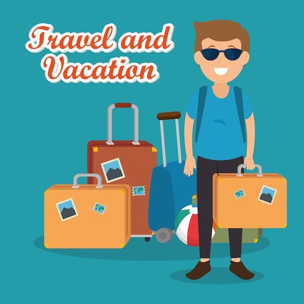 Mannreisender mit koffercharakteren Kostenlosen Vektoren