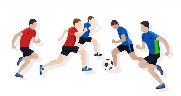 Mannschaft, die fußball spielt Premium Vektoren