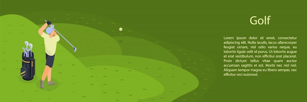 Mannspielgolf-konzeptfahne, isometrische art Premium Vektoren