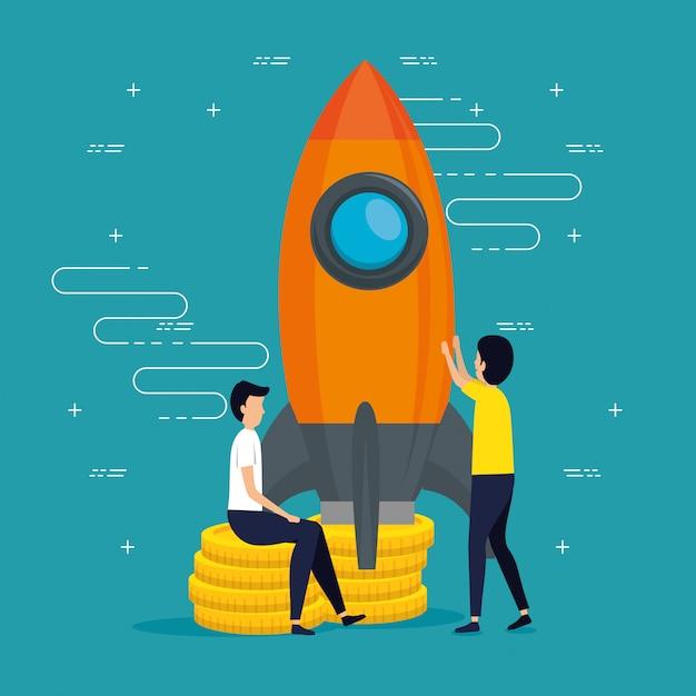 Mannteamwork-geschäft mit einer rakete Kostenlosen Vektoren