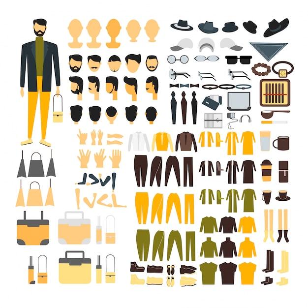 Mannzeichensatz für animation mit verschiedenen ansichten, frisur, gefühl, haltung und geste. Kostenlosen Vektoren