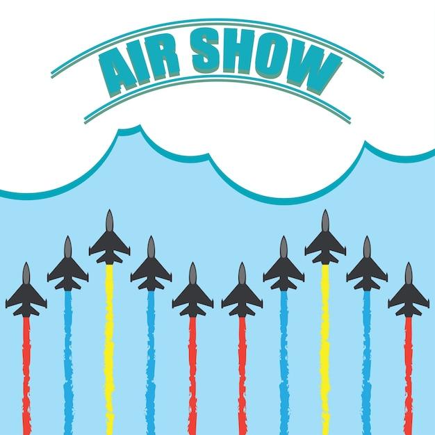 Manöver eines kampfflugzeugs im blauen himmel für flugschau banner. vektor-illustration Kostenlosen Vektoren
