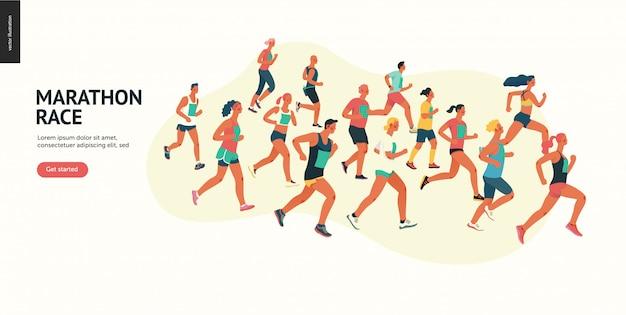 Marathon-renngruppe Premium Vektoren