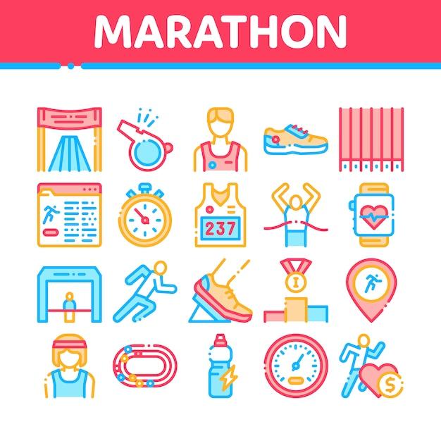 Marathon-sammlungs-element-ikonen eingestellt Premium Vektoren