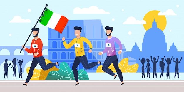 Marathonläufer-nationalmannschaft in italien-karikatur Premium Vektoren