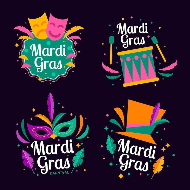 Mardi gras etikettensammlung Kostenlosen Vektoren