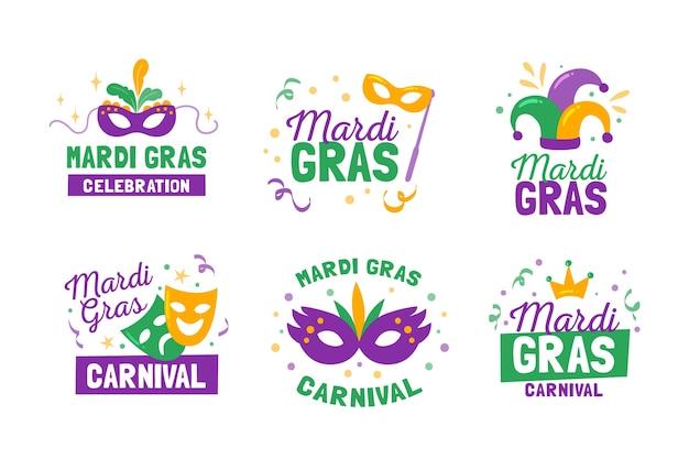 Mardi gras label / abzeichen sammlung Kostenlosen Vektoren