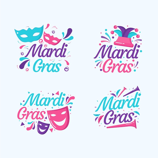 Mardi gras label collection-konzept Kostenlosen Vektoren