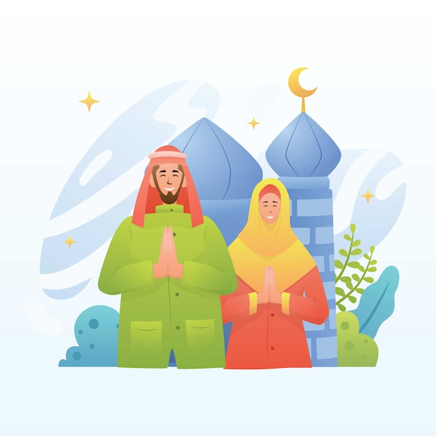 Marhaban ya ramadan grüße illustration Premium Vektoren