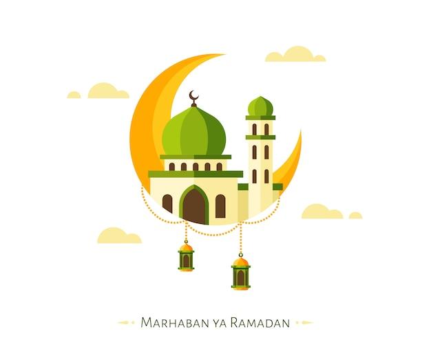 Marhaban ya ramadan hintergrund mit halbmond und moschee-elementen Premium Vektoren