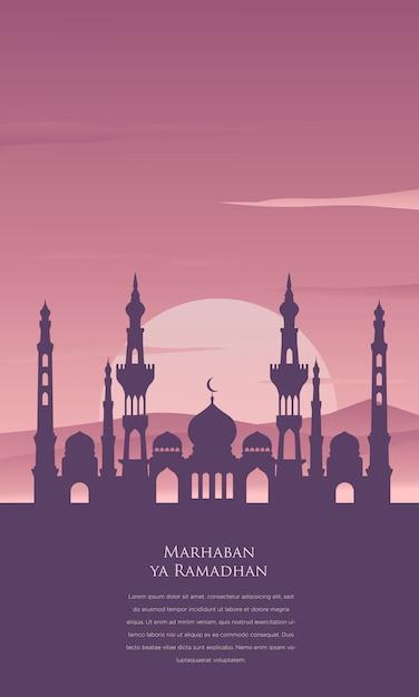 Marhaban ya ramadan hintergrund mit moschee Premium Vektoren