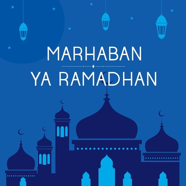 Marhaban ya ramadhan vektor hintergrund Premium Vektoren