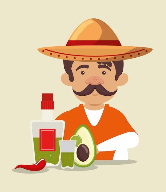 Mariachi mann mit hut mit tequila und avocado Kostenlosen Vektoren
