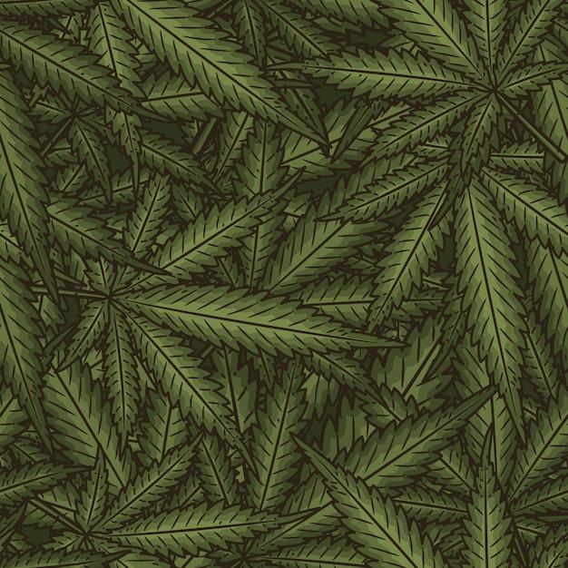 Marihuana hinterlässt ein nahtloses muster. Premium Vektoren