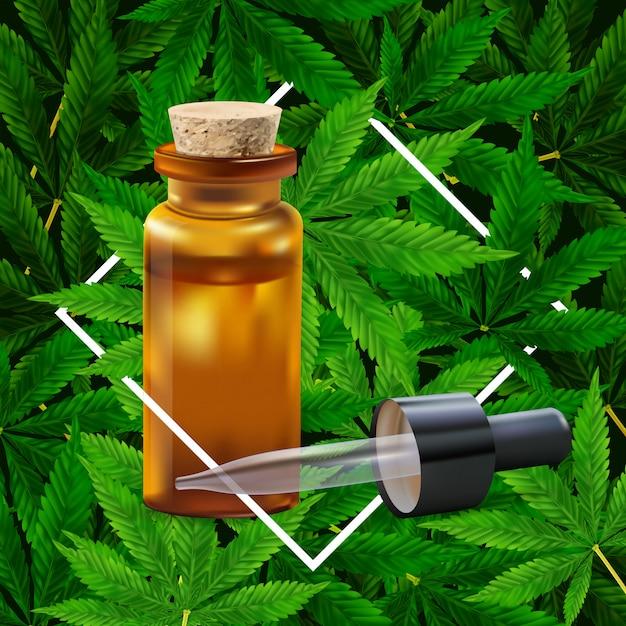 Marihuana- oder hanf-blatthintergrund. realistische darstellung der anlage in der draufsicht. Premium Vektoren