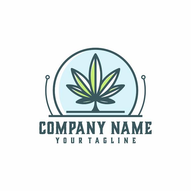 Marihuana-technologie-logo-vektor-vorlage Premium Vektoren