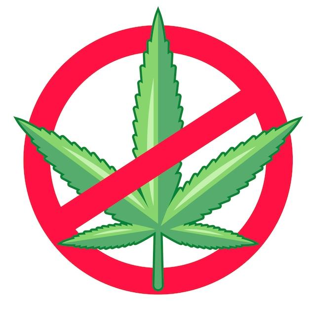 Marihuana verbieten. drogen sind illegal. Premium Vektoren