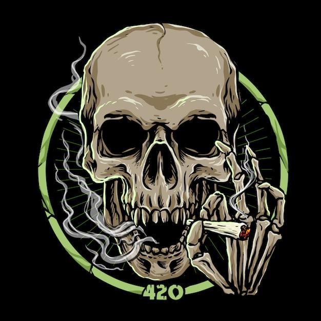 Marihuanaschädel auf dunkelheit Premium Vektoren