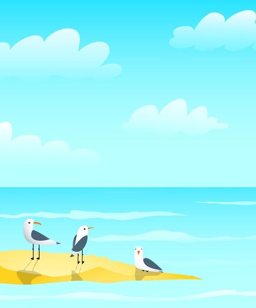 Marine ozean und möwen auf sandbankentwurf, wellen und wolken nautischer blauer grußkartenhintergrundentwurf. Premium Vektoren
