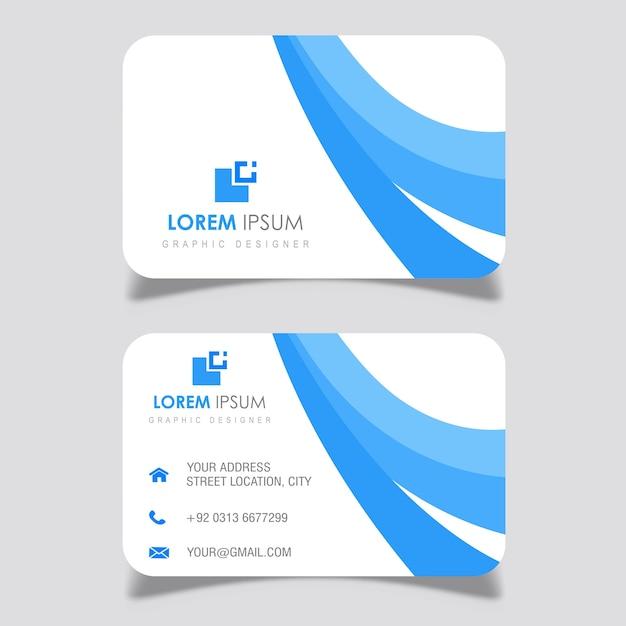 Marineblaue Gewellte Visitenkarte Entwirft Kostenlose Vektor