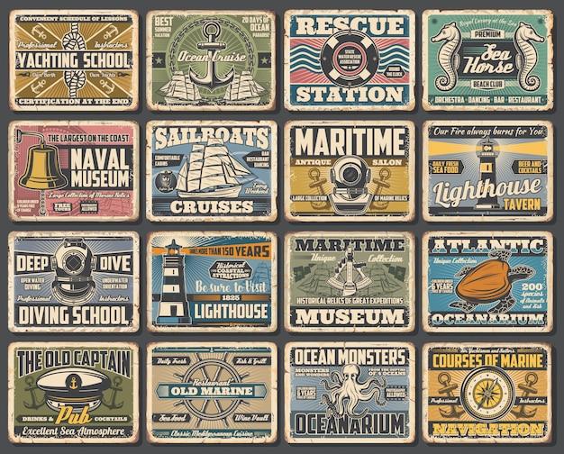 Marineschiff museum, marine seefahrt retro poster Premium Vektoren