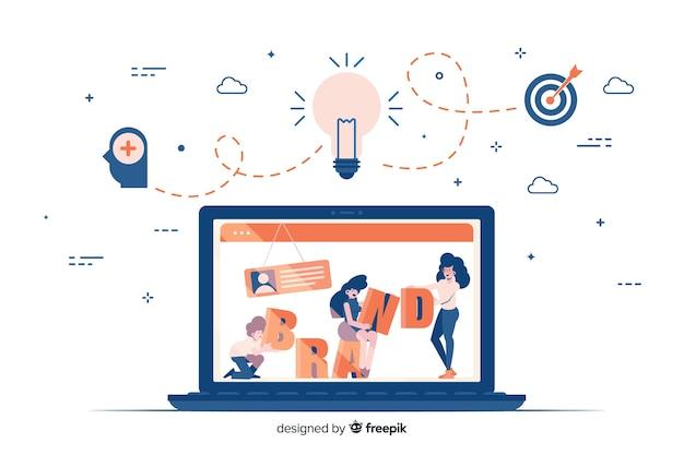Markenbeschriftung in der bunten illustration Kostenlosen Vektoren