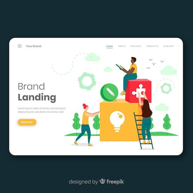 Markenkonzept für landingpage Kostenlosen Vektoren