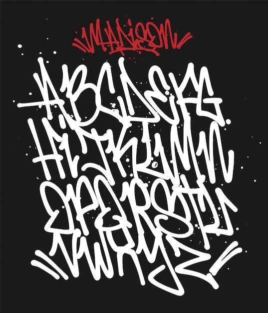 Marker graffiti schriftart handgeschriebene typografie illustration Premium Vektoren