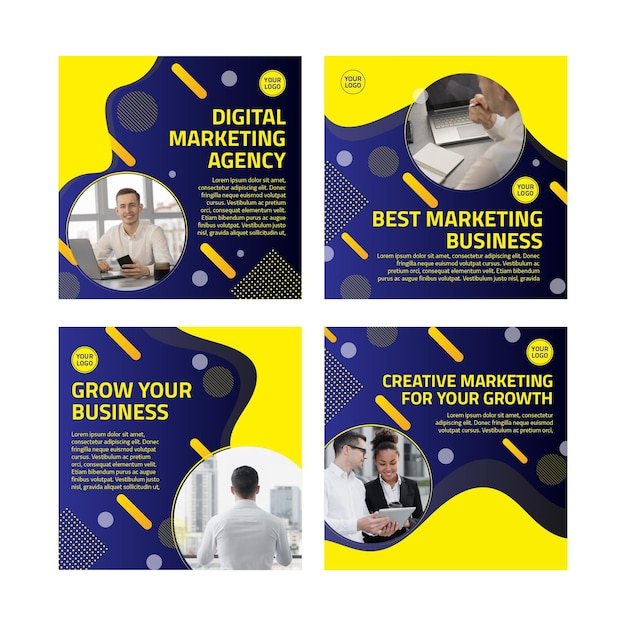 Marketing business instagram beiträge sammlung Premium Vektoren