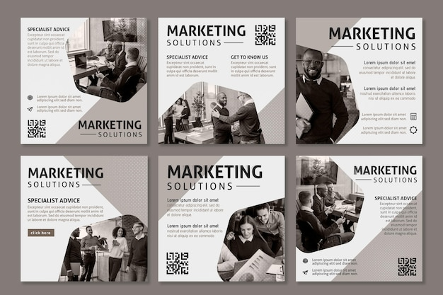 Marketing business instagram beiträge Kostenlosen Vektoren
