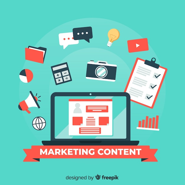 Marketing-content-konzept Kostenlosen Vektoren