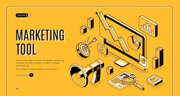Marketing-e-commerce, isometrische netzfahne des datenanalysewerkzeugs. Kostenlosen Vektoren