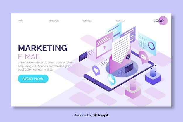 Marketing-e-mail-landingpage im isometrischen design Kostenlosen Vektoren